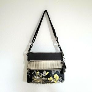Sakroots Floral Butterfly Crossbody Yellow Gray